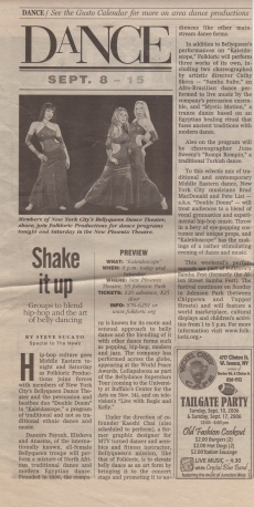Newspaper article - Fayzah with Bellyqueen Dance Company